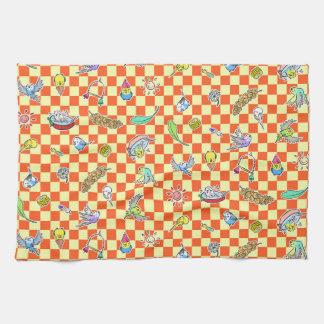 Budgie parrot pattern towel