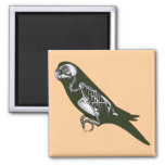 budgie skeleton fridge magnet