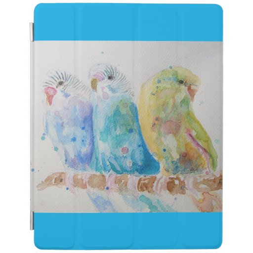 Budgie Watercolour Painting bird Budgies Aqua Teal iPad Smart Cover