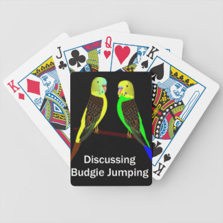 Budgies discussing Budgie Jumping Bicycle Playing Cards