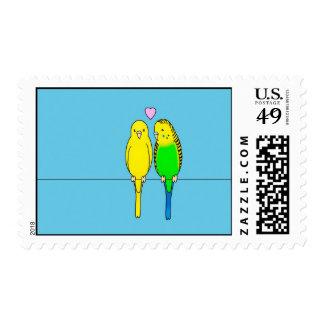 Budgies en amor timbre postal
