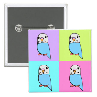 Budgies Pop Art 2 Inch Square Button