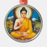 Budista Adorno Redondo Plateado