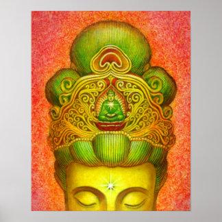 Budista de zen de la corona de Kuan Yin Buda del p Poster