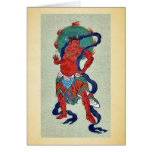 Budista mitológico con el marco azul largo tarjeton