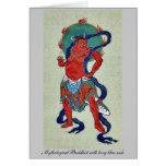 Budista mitológico con el marco azul largo tarjeta