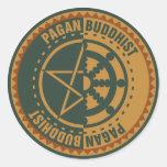 Budista pagano pegatina redonda