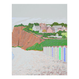Budleigh Salterton beach huts Letterhead Template