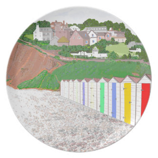 Budleigh Salterton beach huts Party Plates
