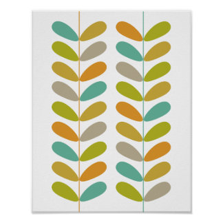 Buds Mid Century Modern Styled Poster - Colorful