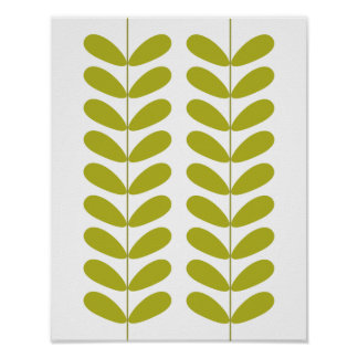 Buds Mid Century Modern Styled Poster - Green
