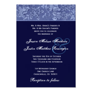 Bue and Midnight Midnight Damask Wedding Template Card
