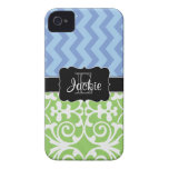 Bue Green Dual Pattern monogrammed iPhone4/4s case Case-Mate iPhone 4 Case