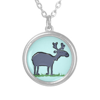 bue moose silver plated necklace