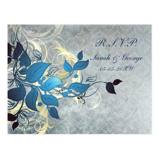 bue winter Wedding rsvp card