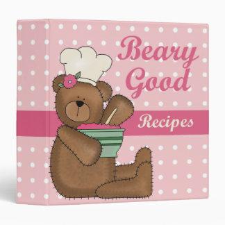 """Buen cuaderno de la receta de las recetas de Beary Carpeta 1 1/2"""""""