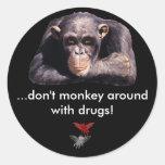 Buen /Evil,… no monkey alrededor con… Etiqueta Redonda