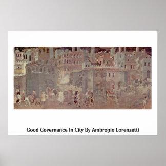 Buen gobierno en ciudad de Ambrogio Lorenzetti Posters