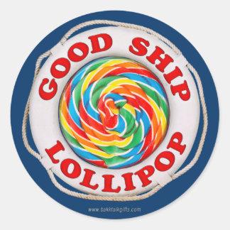 Buen Lollipop de la nave… Pegatina Redonda