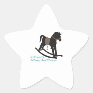 Buen navidad oscilante pegatinas forma de estrella personalizadas