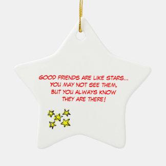 Buen ornamento del navidad de los amigos adorno navideño de cerámica en forma de estrella