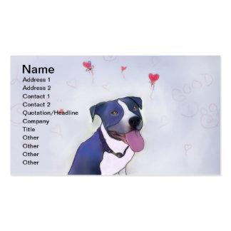 Buen perro del pitbull azul tarjetas de visita