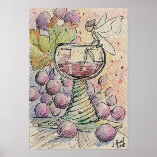 Buen poster de hadas del vino