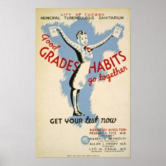 Buen poster del vintage del hábito de los grados póster