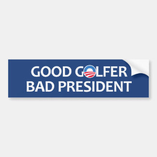 Buen presidente del malo del golfista etiqueta de parachoque