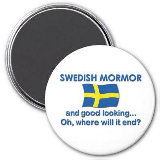 Buen sueco Mormor (abuela) de Lkg Imán Redondo 7 Cm