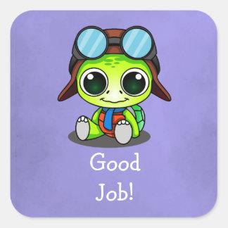 ¡Buen trabajo! Tortuga linda del dibujo animado de Pegatina Cuadrada