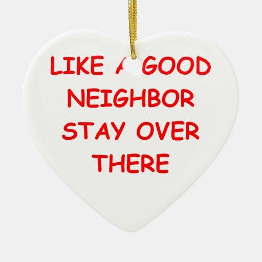 buen vecino adorno de cerámica en forma de corazón