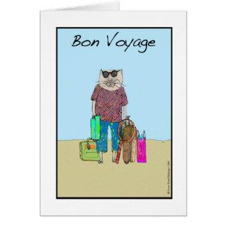 Buen viaje, gato en tarjeta de vacaciones