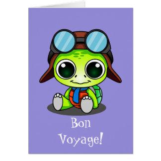 Buen viaje lindo de la tortuga del dibujo animado tarjeta de felicitación