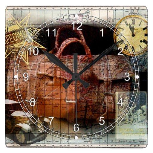 Buen viaje reloj cuadrado