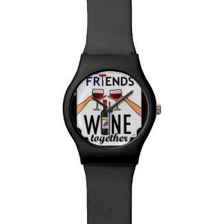 Buen vino de los amigos relojes de pulsera