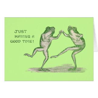Buen vintage de la danza de las ranas del tiempo tarjeta de felicitación