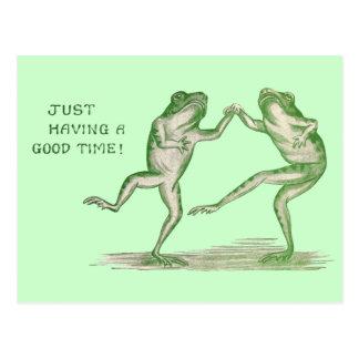 Buen vintage de la danza de las ranas del tiempo postal