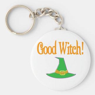 ¡Buena bruja! Diseño verde de Halloween del gorra Llavero Redondo Tipo Pin