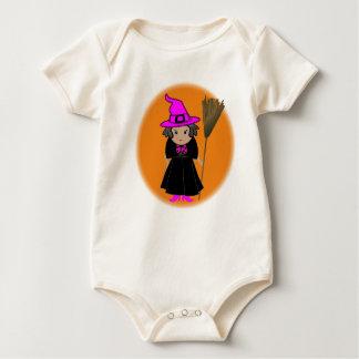 Buena bruja en el gorra rosado - ropa de Halloween Mameluco