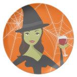 Buena bruja, mala placa de la invitación de Hallow Platos Para Fiestas