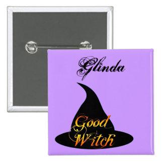 Buena bruja Personalizable Halloween que dice el b Pin Cuadrada 5 Cm