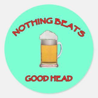 Buena cabeza pegatina redonda