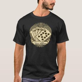 Buena camiseta oscura básica de la mano de póker