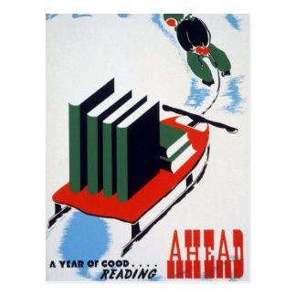 Buena lectura a continuación tarjeta postal
