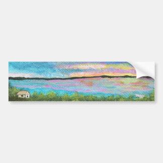 Buena mañana de la pintura abstracta original etiqueta de parachoque