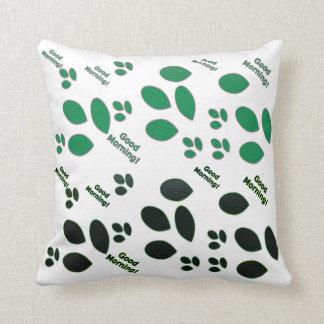 Buena mañana en negro y verde cojín decorativo
