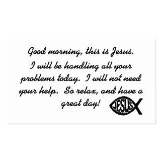 Buena mañana ésta es tarjeta de visita de Jesús