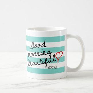 ¡Buena mañana hermosa! Modelo de las rayas azules Taza De Café