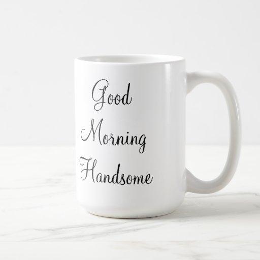 Buena mañana hermosa taza básica blanca